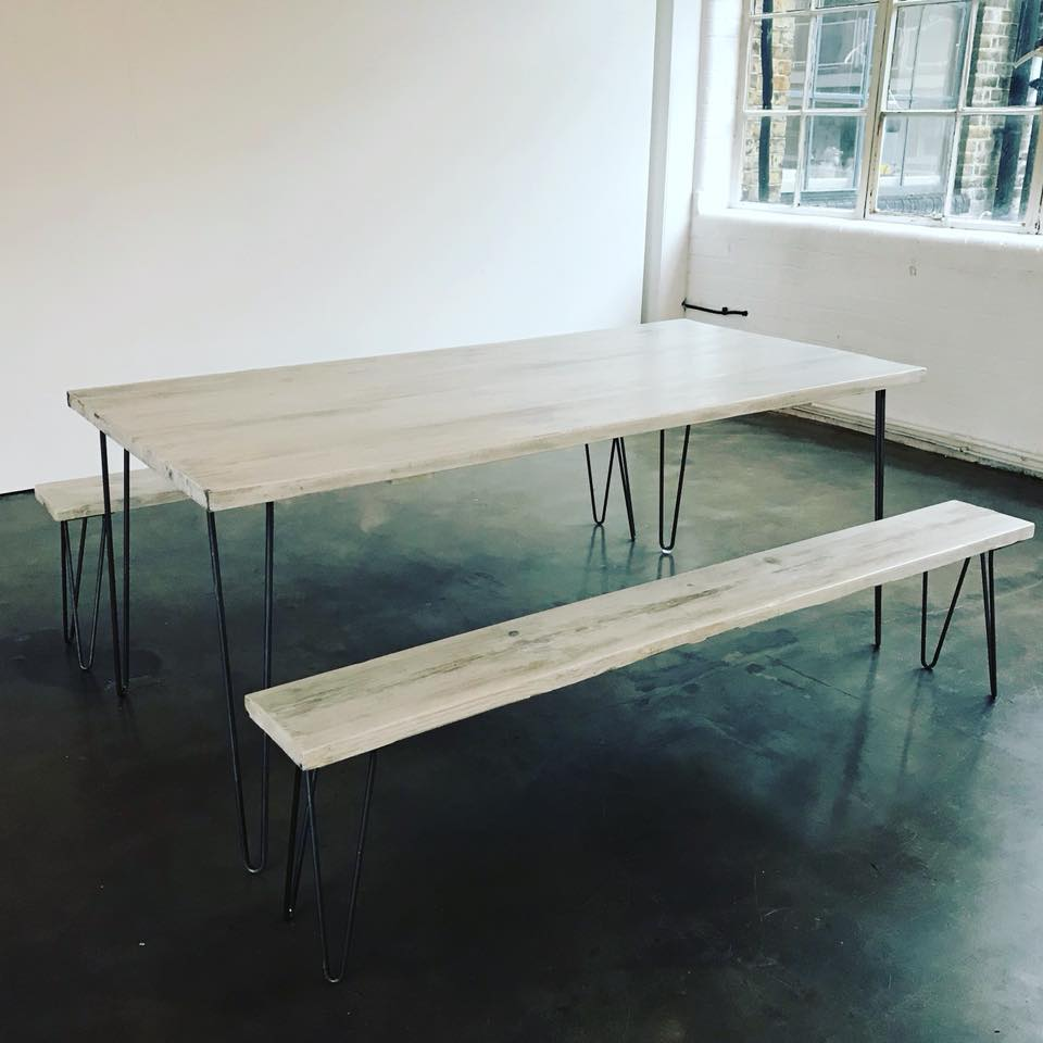 White Washed Table & Benches With Hairpin Legs