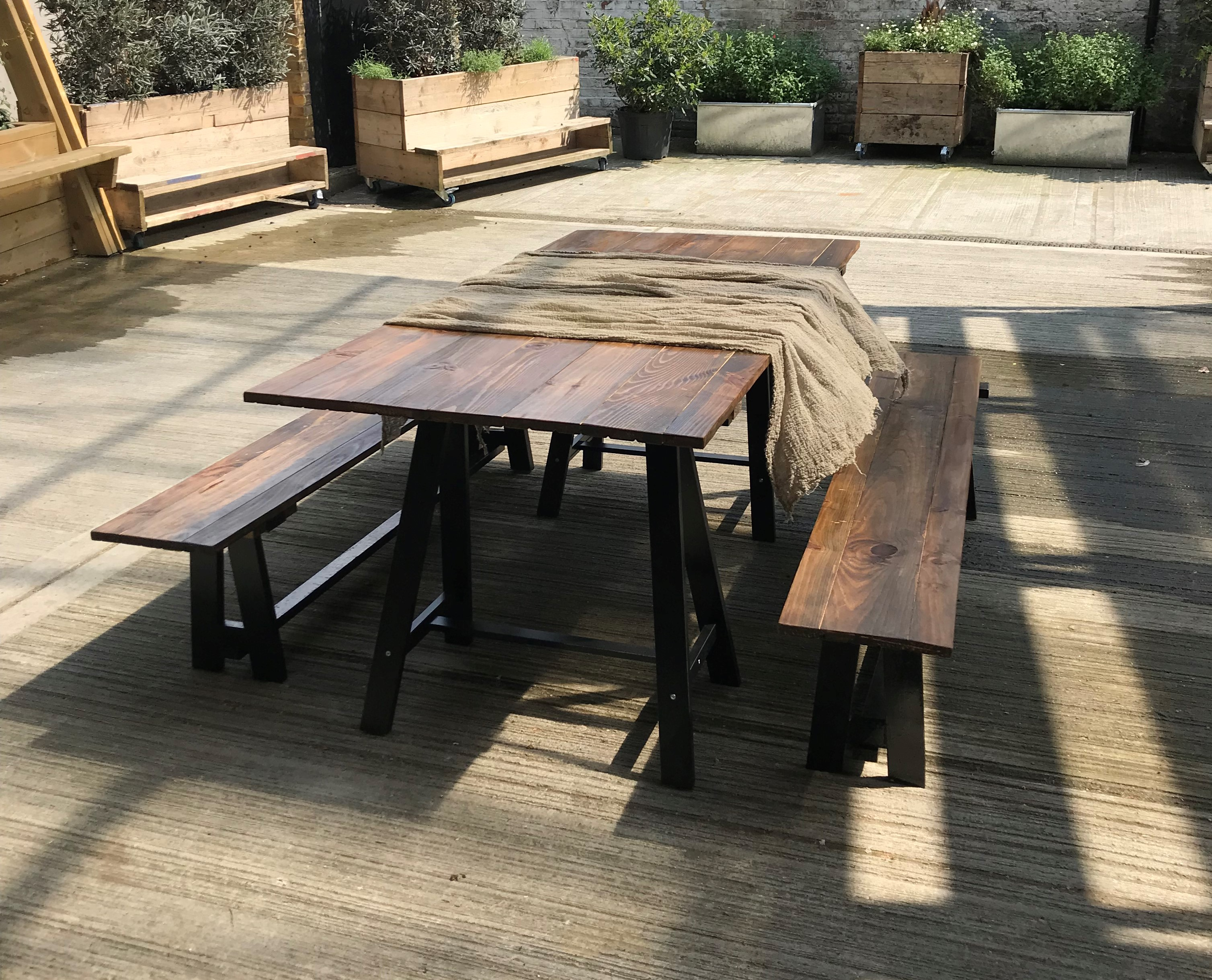 black trestle table and benches 2