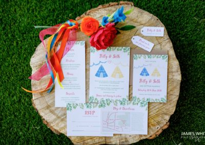 Recycled paper invites with paper flower bouquet