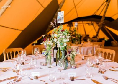 Hampshire Tipi Wedding Planner - flowers and bottles