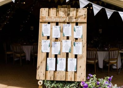 Hampshire Tipi Wedding Plan - Pallet Seating Plan