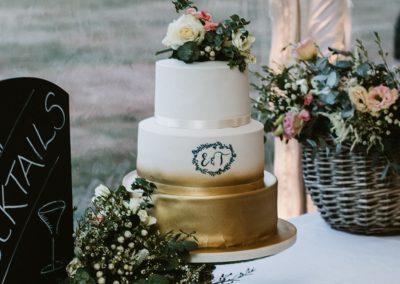 Metallic monogram wedding cake wedding planner hampshire